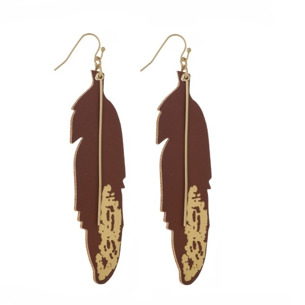 "Gold tone fishhook earring with faux leather feather shape. Approximately 3"" in length."