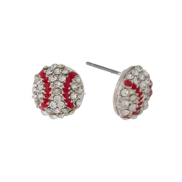 "Rhinestone accented baseball stud earrings. Approximately 1/4"" in length."