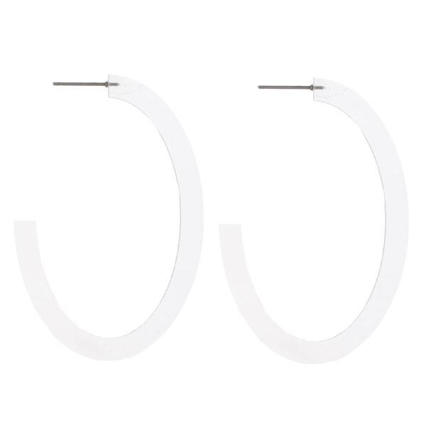 "Post acetate oblong hoop earring. Approximately 2"" in length."