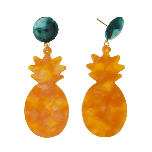 "Acetate stud earring with acetate pineapple shape. Approximately 2.5"" in length."