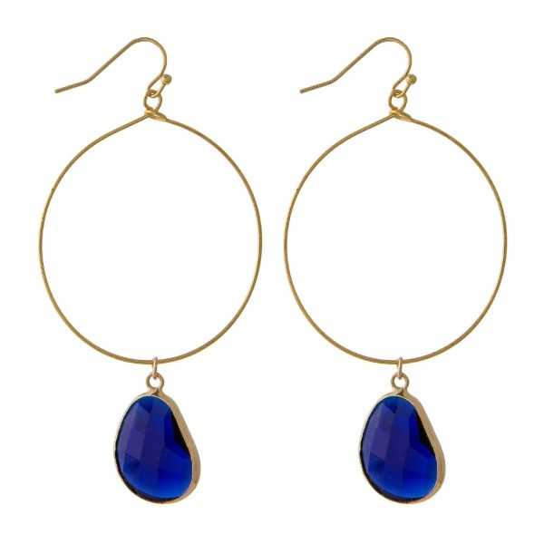 """Gold tone hoop earring with natural stone charm Approximately 2"""" in length."""