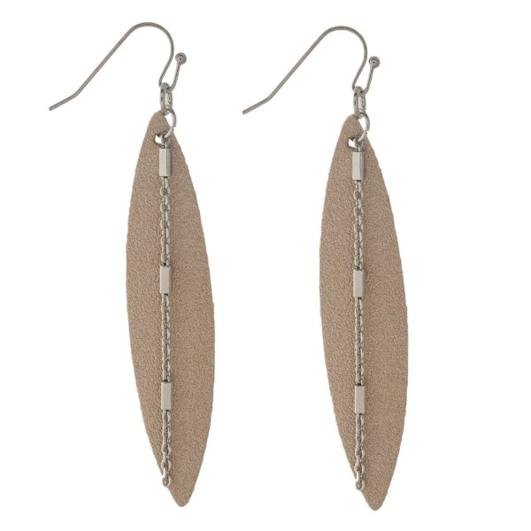 "Long faux leather earring with chain detail. Approximately 2.5"" in length."