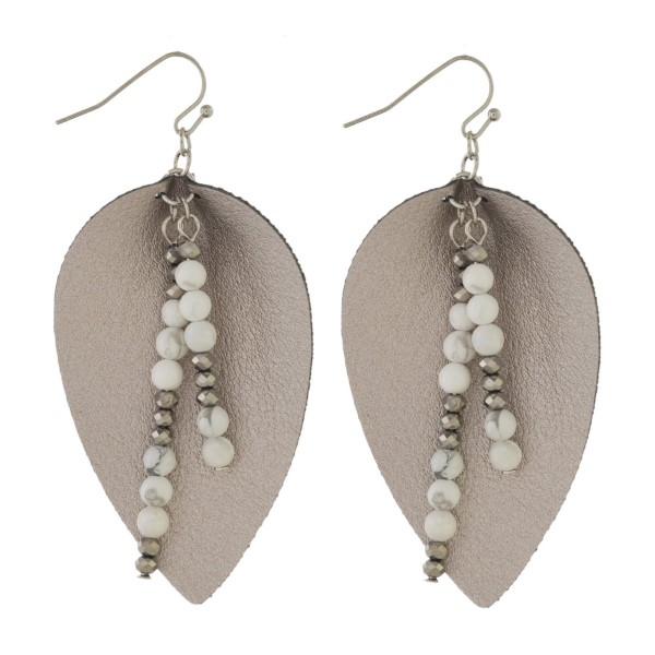 "Fishhook earring with teardrop leather shape and natural stone accents. Approximately 2"" in length."