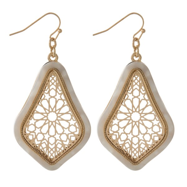 """Gold tone metal earring with acetate detail. Approximately 1.5"""" in length."""