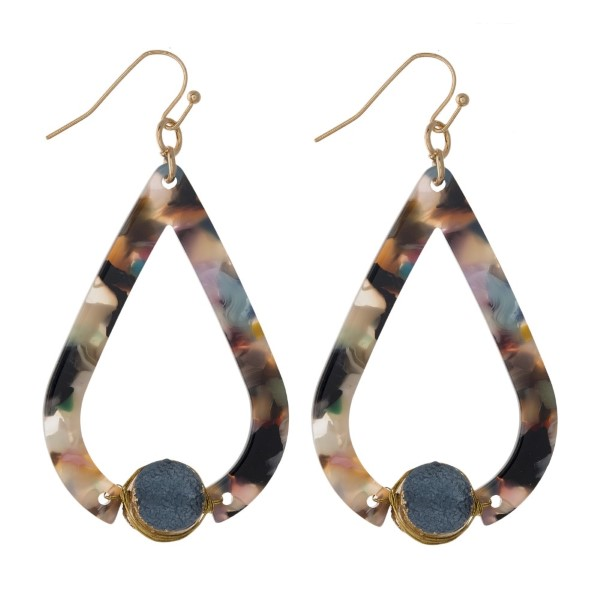 """Gold tone fishhook earring with teardrop acetate design. Approximately 1.5"""" in length."""