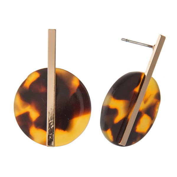 """Gold tone stud earring with acetate design. Approximately 1"""" in length."""