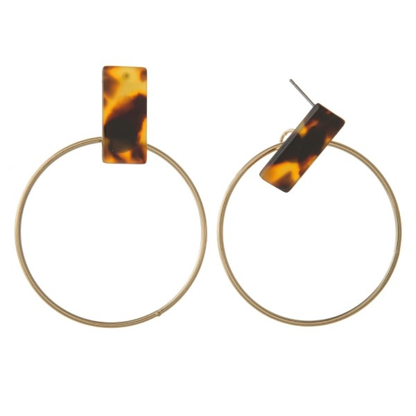 """Acetate stud earring with gold hoop. Approximately 2"""" in length."""