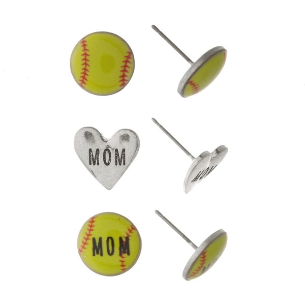 """Sports ball earring set stamped with Mom. Approxmately 1/4"""" in length."""