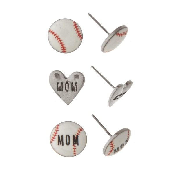 "Sports ball earring set stamped with Mom. Approxmately 1/4"" in length."