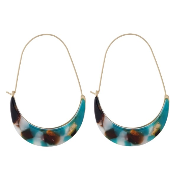 """Gold tone earring with acetate detail. Approximately 2"""" in length."""