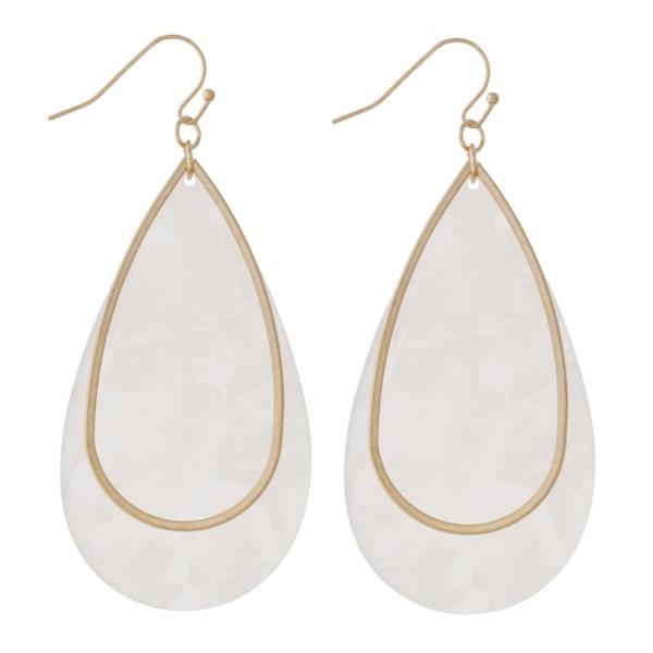 """Acetate teardrop earring. Approximately 2""""in length."""