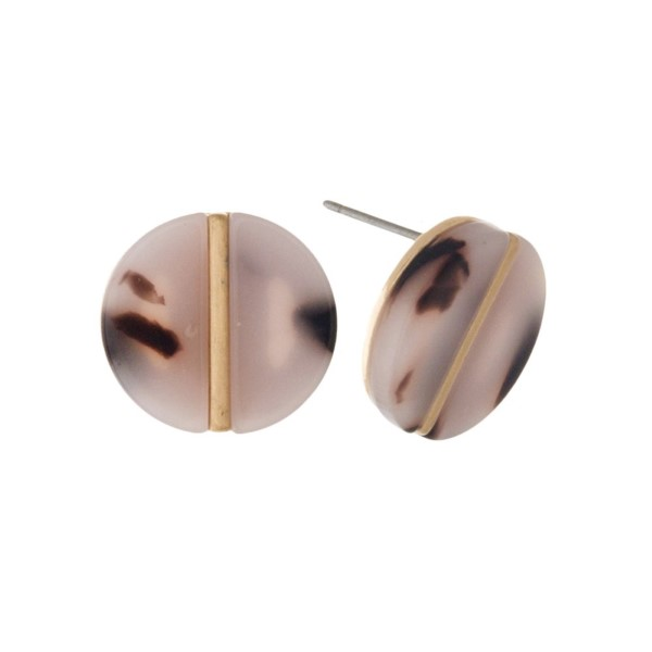 """Acetate stud earring with gold detail. Approximately 1/2"""" in length."""