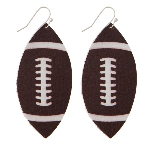 """Faux suede football earrings. Approximately 2"""" in length."""