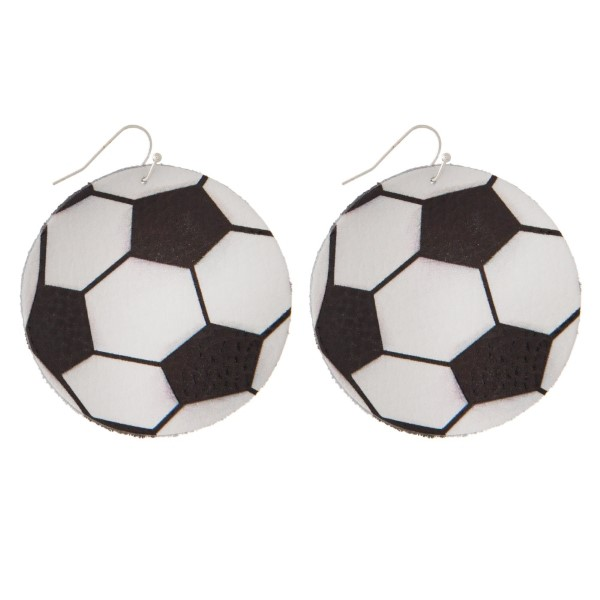 "Faux suede earring in soccer ball shape. Approximately 2"" in diameter"