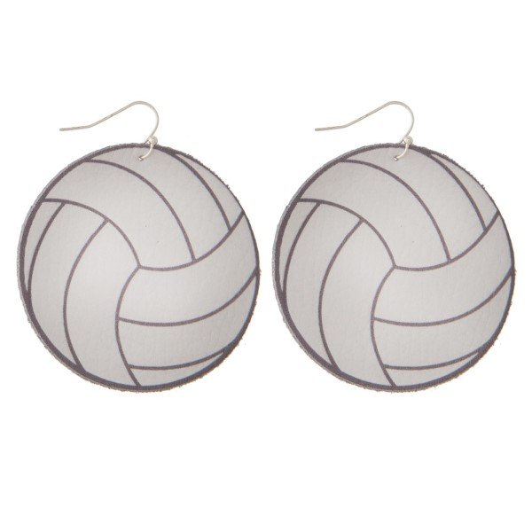 "Faux suede earring in a volleyball shape. Approximately 2"" in diameter"