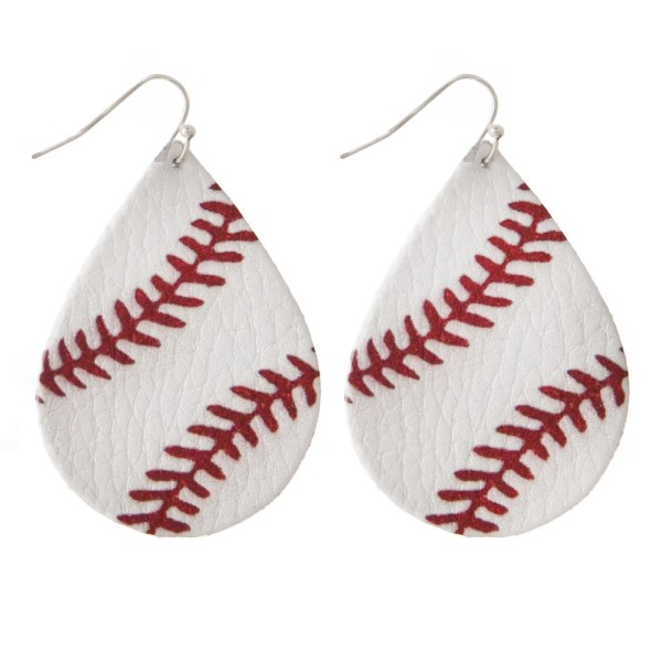 """Faux leather fishhook earring with a baseball printed teardrop shape. Approximately 2"""" in length."""