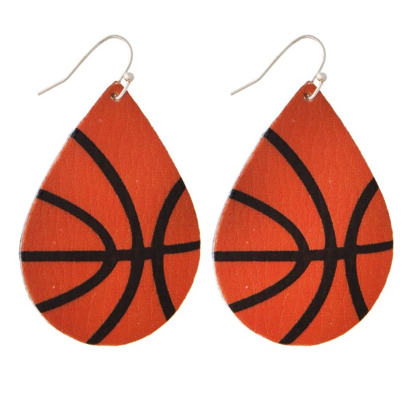 """Faux leather fishhook earring with a basketball printed teardrop shape. Approximately 2"""" in length."""