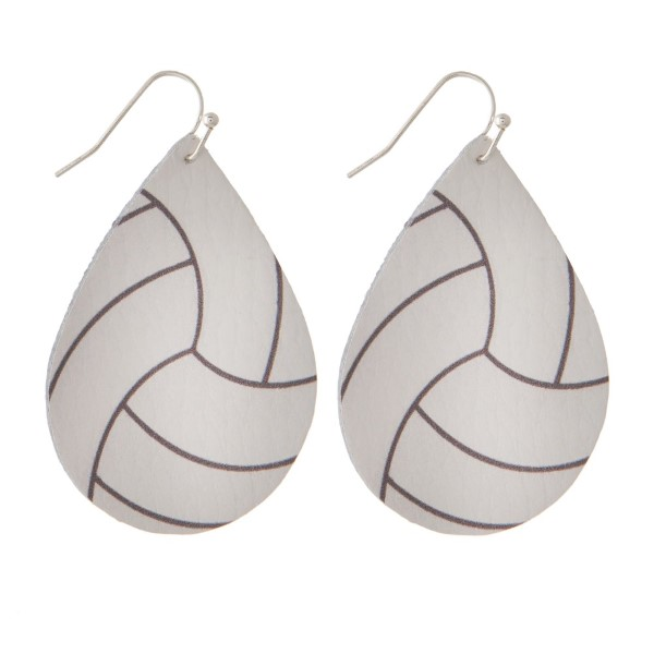 "Faux leather fishhook earring with a volleyball printed teardrop shape. Approximately 2"" in length."