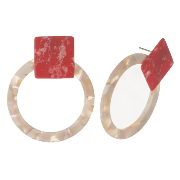 """Natural stone stud earring with acetate circle shape. Approximately 1.5"""" in length."""