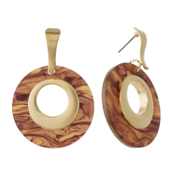 """Gold tone post earring with acetate circle design. Approximately 2"""" in length."""