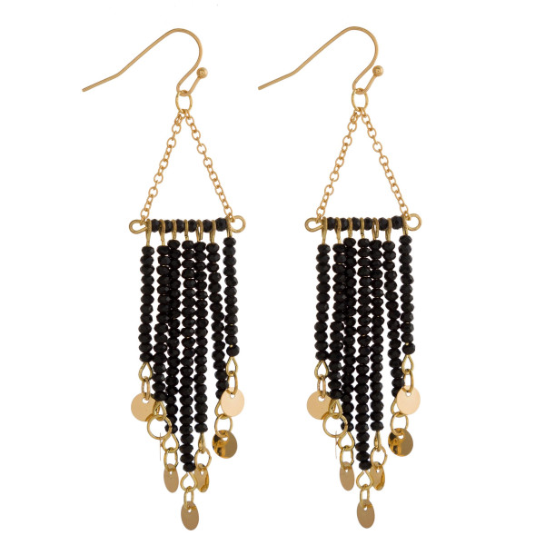 """Gold tone fishhook earring with beaded detail. Approximately 2"""" in length."""