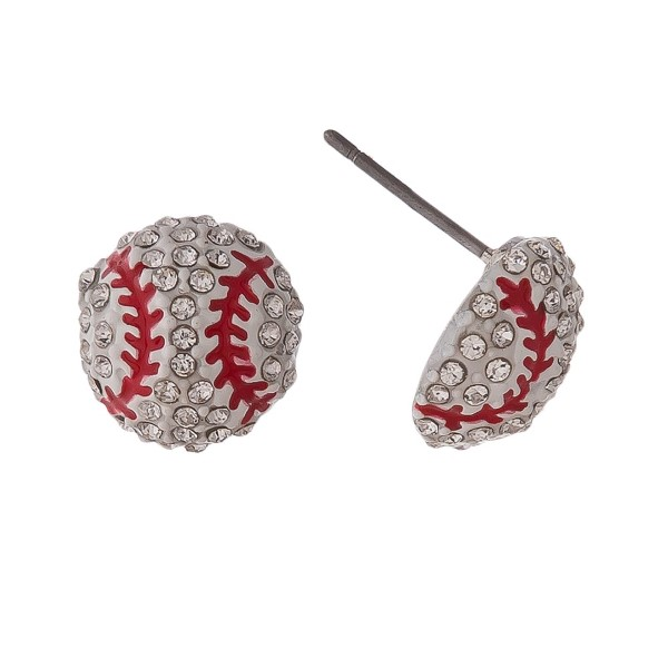 "Baseball stud earrings with rhinestones. Approximately 1/2"" in length."