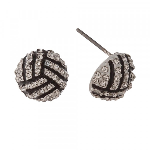 """Sports ball stud earring. Approximately 1/2"""" in length."""