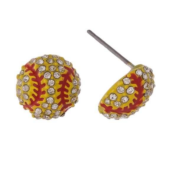 "Baseball / softball stud earring. Approximately 1/2"" in length."