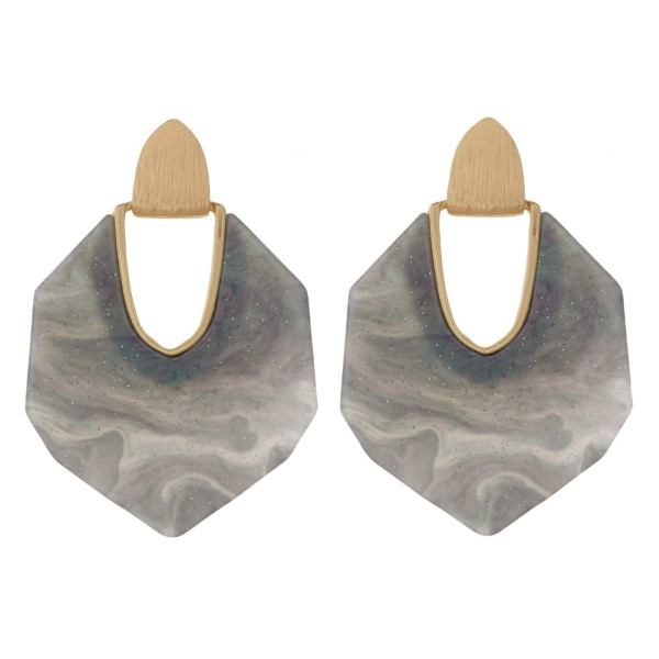 """Gold tone post earring with hexagon acetate shape.  Approximately 2"""" in length."""