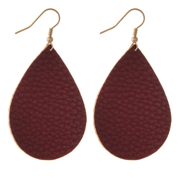 "Fishhook earring leather teardrop shape. Approximately 2"" in length."