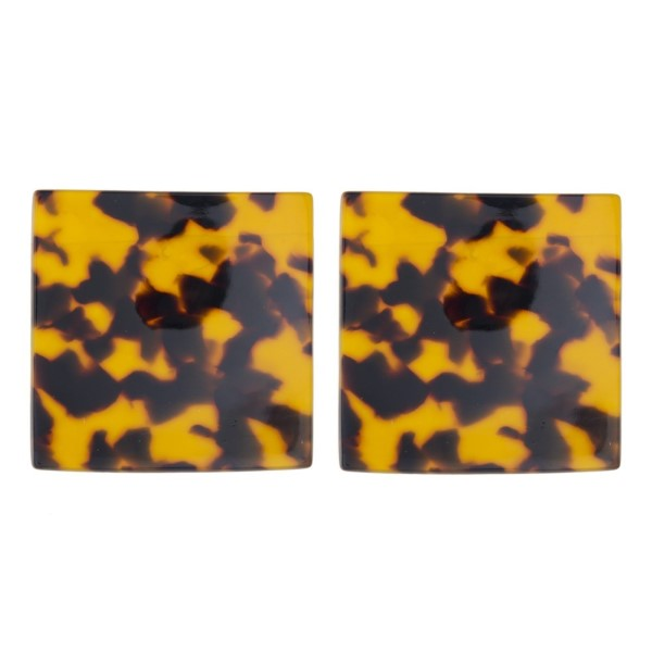 "Stud earring with acetate square shape. Approximately 2"" in length."