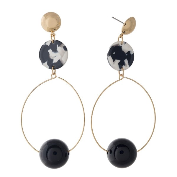 """Gold tone stud earring with acetate accents. Approximately 3"""" in length."""