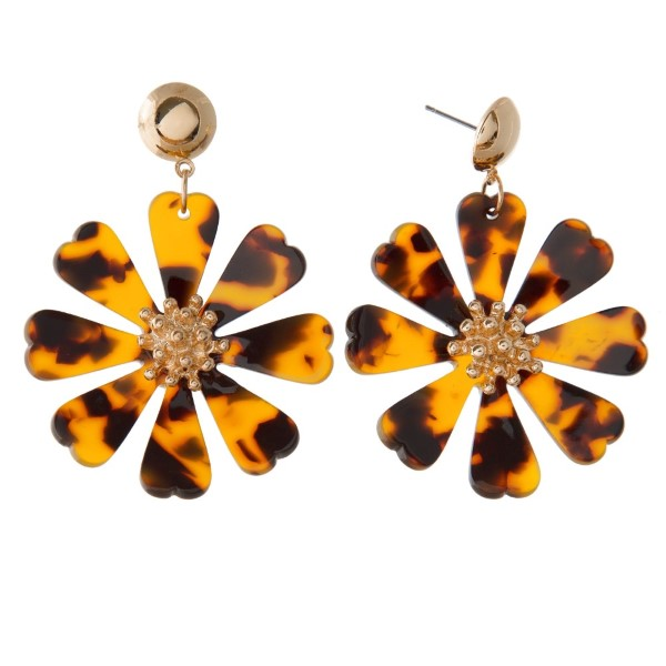 "Gold tone post earring with acetate flower design. Approximately 2"" in length."