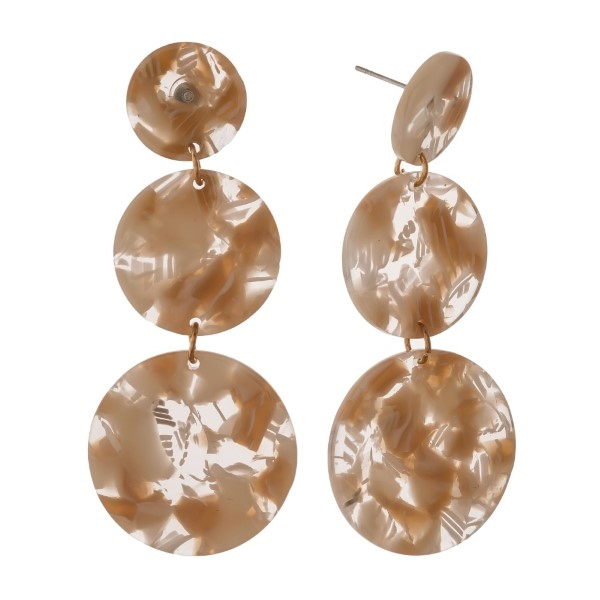 """Post earring with acetate circle detail. Approximately 2.5"""" in length."""