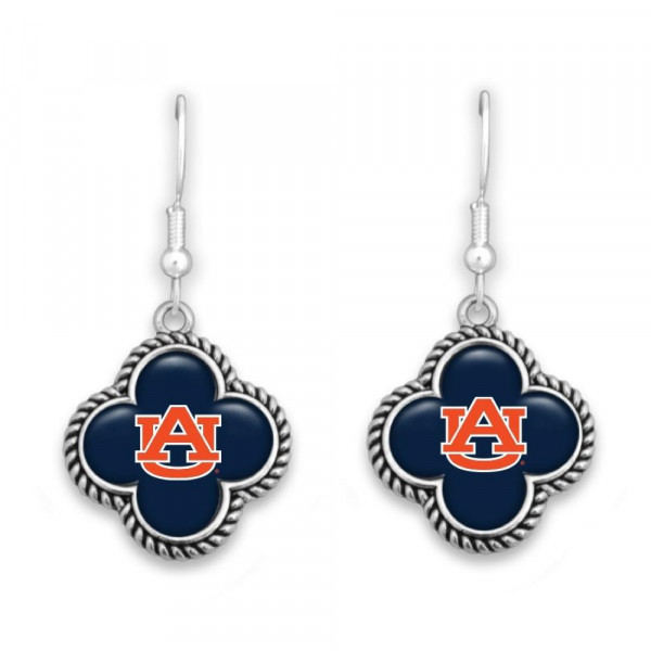 Wholesale officially licensed silver fishhook earring clover university logo