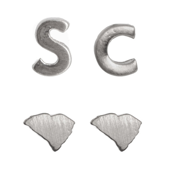"""Metal stud earring set with South Carolina shape. Approximately 1/4"""" in size."""