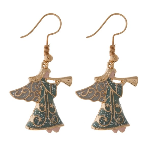 """Fishhook Christmas themed earring. Approximately 1"""" in length."""