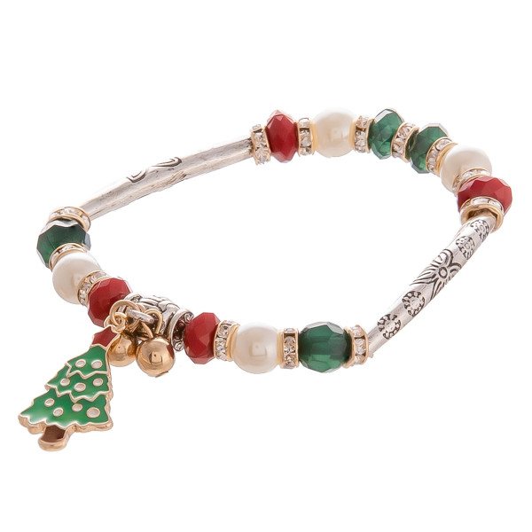 "Gorgeous Christmas bracelet with Christmas tree pendant and some rhinestones. Approximate 6"" in length with 1"" pendant."