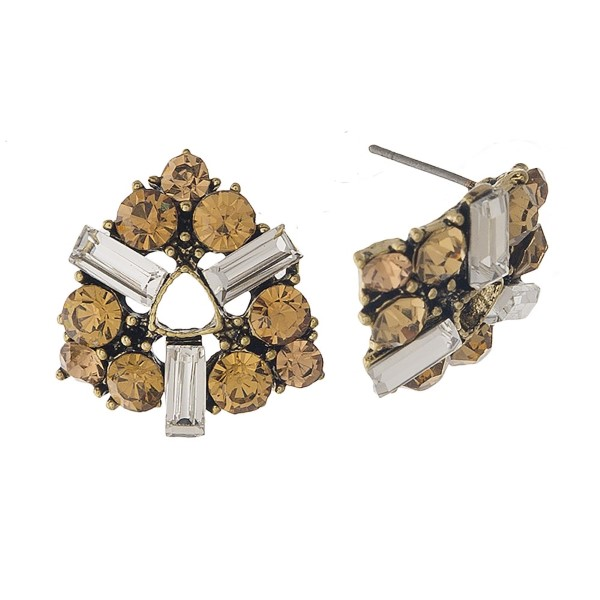 "Stud earring with rhinestone detail. Approximately .75"" in length."