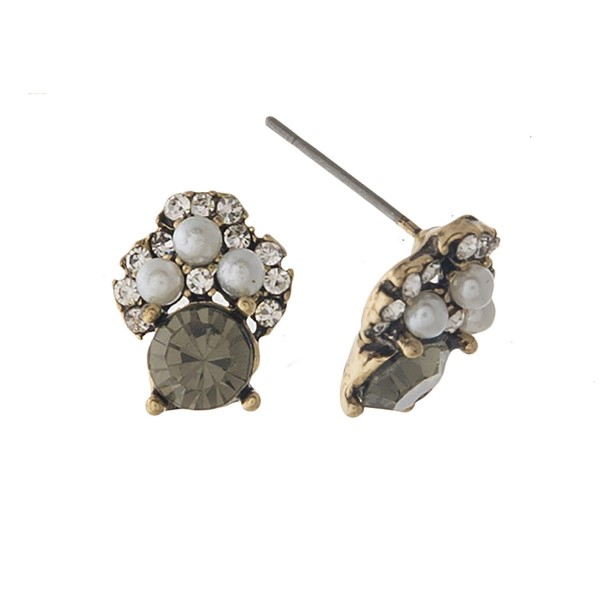"""Rhinestone and pearl stud earring. Approximately 1/2"""" in length."""