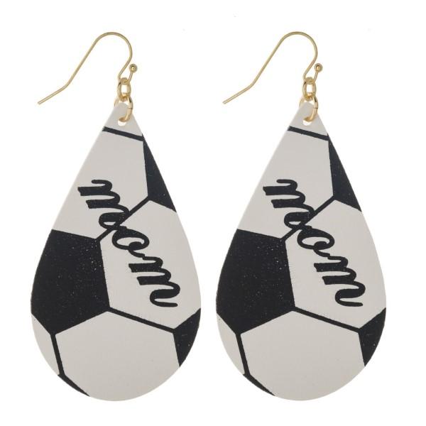 "Metal fishhook earring with sports ball teardrop shape. Approximately 2"" in length."