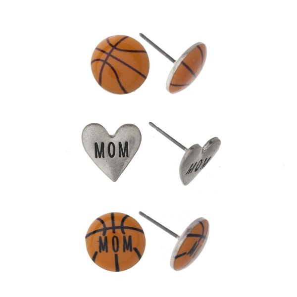 Stud earring set with basketball mom detail.