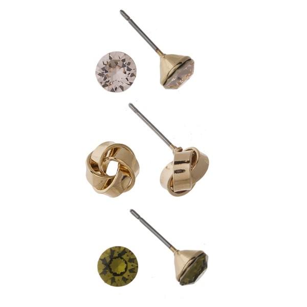 Rhinestone earring set.