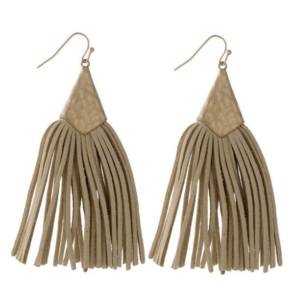 "Long faux leather tassel earring. Approximately 3"" in length."