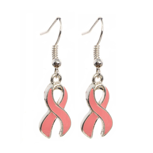 "Silver tone fishhook earring with breast cancer awareness ribbon. Approximately 1.5"" in length."