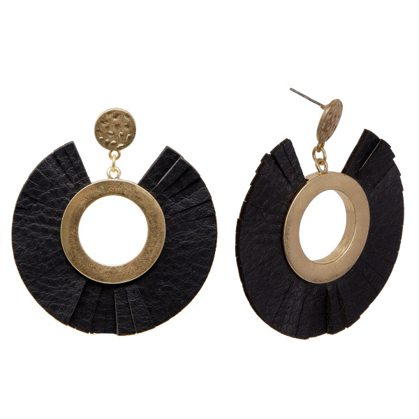 """Gold tone stud earring with faux leather circle. approximately 2.5"""" in length."""
