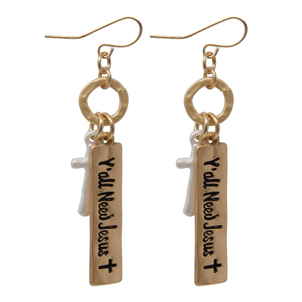 Wholesale fishhook metal earring bar stamped Y all Need Jesus cross charm
