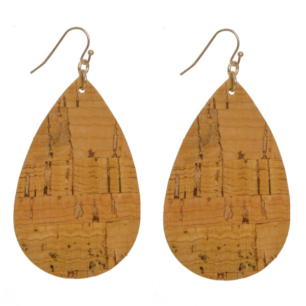 "Long teardrop cork earrings. Approximately 2"" in length."