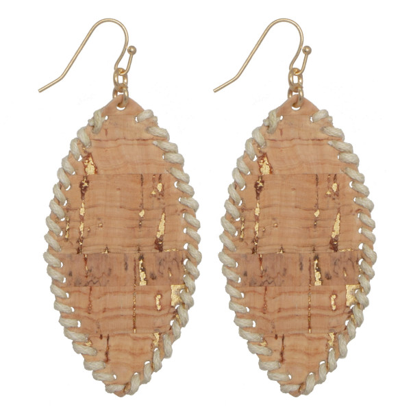 """Long cork oval earring with sticking edges. Approximately 1.75"""" in length."""