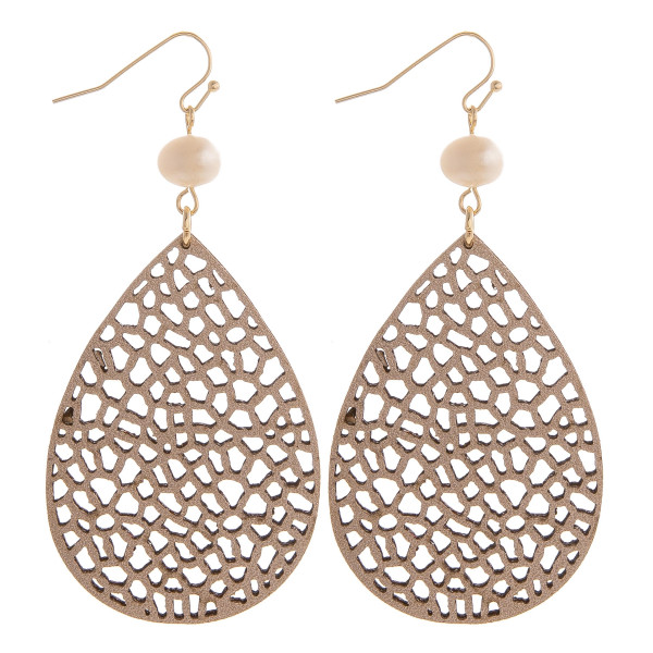 """Gorgeous fishhook leather drop earring with pearl. Approximate 3"""" in length."""